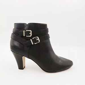 INC DORINE Black Bootie Faux Leather Heel 9 Chic